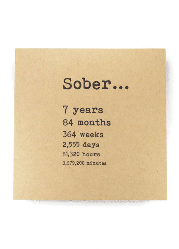 Sober 7 years AA recovery greeting card