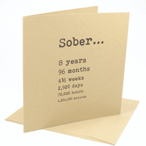Sober 8 years alcoholics anonymous recovery greeting card