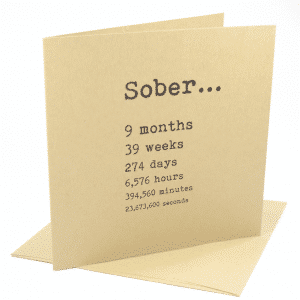 happy 9 month sobriety anniversary greeting card