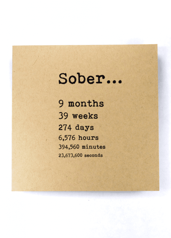 Sober 9 months alcoholics anonymous recovery greeting card