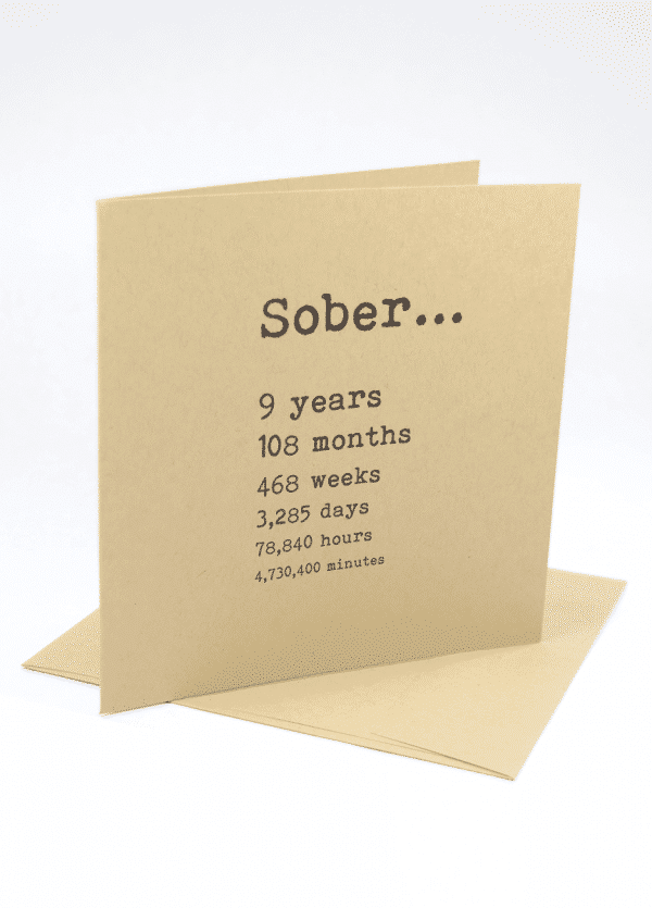 Sober 9 years alcoholics anonymous recovery greeting card