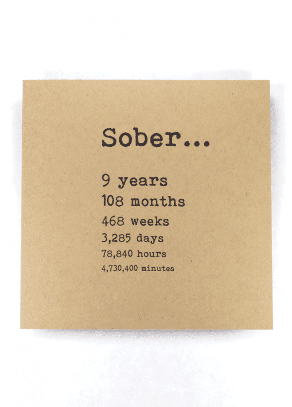 Sober 9 years AA recovery greeting card